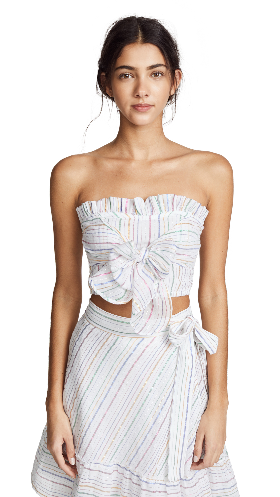 Apiece Apart Flora Sleeveless Ruffle Top In White Fez Stripe