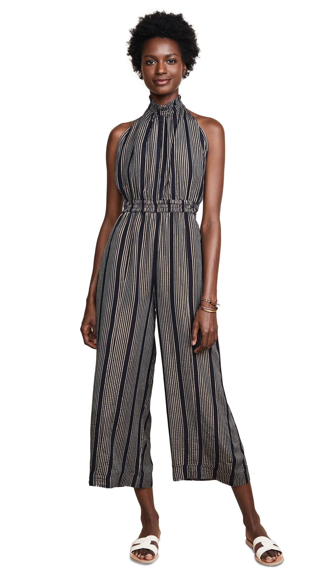 Apiece Apart Archer Backless Jumpsuit In Black Stripe