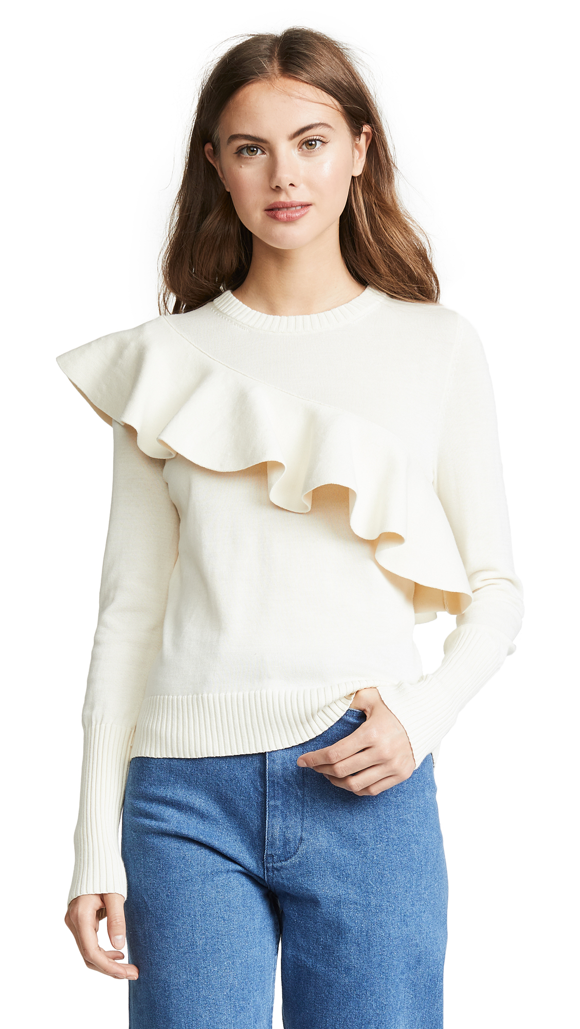 APIECE APART Sterre Ruffle Crew Neck Sweater in Ivory