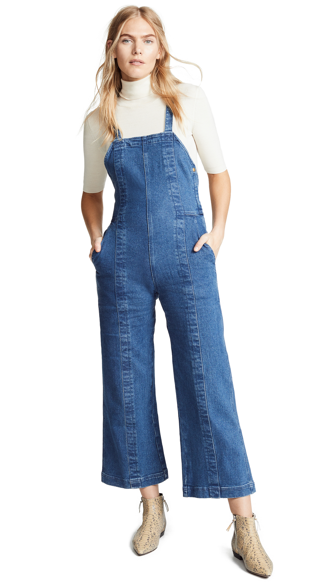 Apiece Apart Camen Denim Overalls In Stonewash