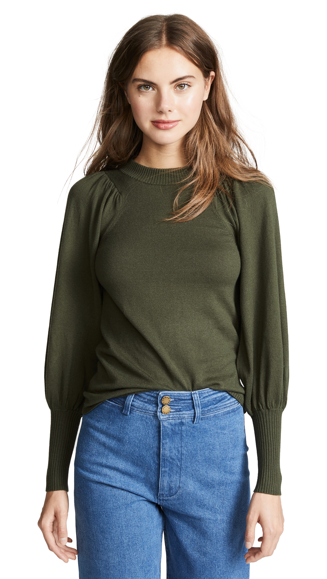 Apiece Apart Dewi Puff Sleeve Sweater In Military