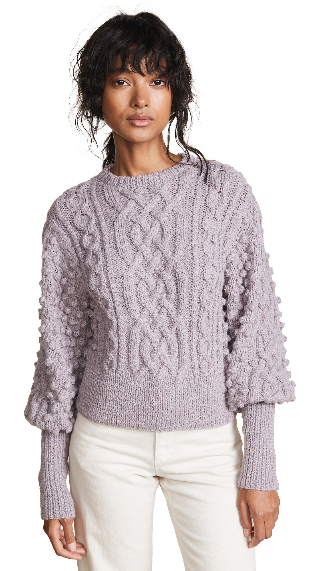 Apiece Apart Lieve Handknit Cable Crew Sweater In Lavender