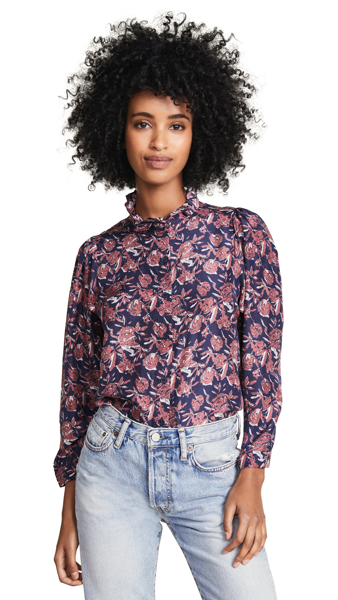 Apiece Apart Marijn Button Up Blouse In Multi Floral