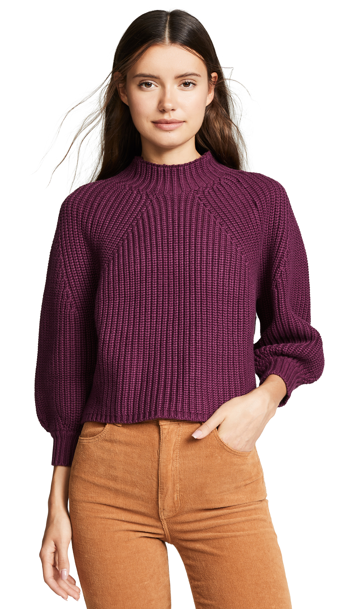 Apiece Apart Merel Funnel Neck Sweater In Berry