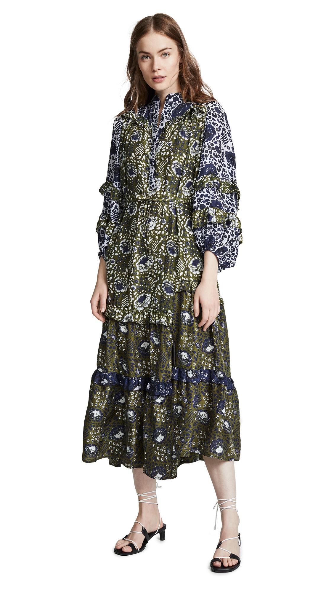 APIECE APART Gracia Flamenca Dress In Basil Sombras Floral