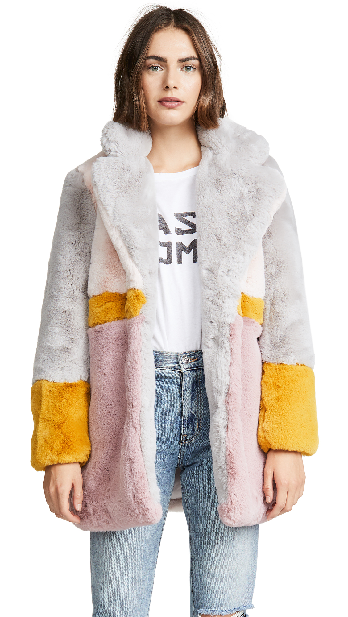 APPARIS Lisa Colorblock Faux Fur Coat in Multicolor