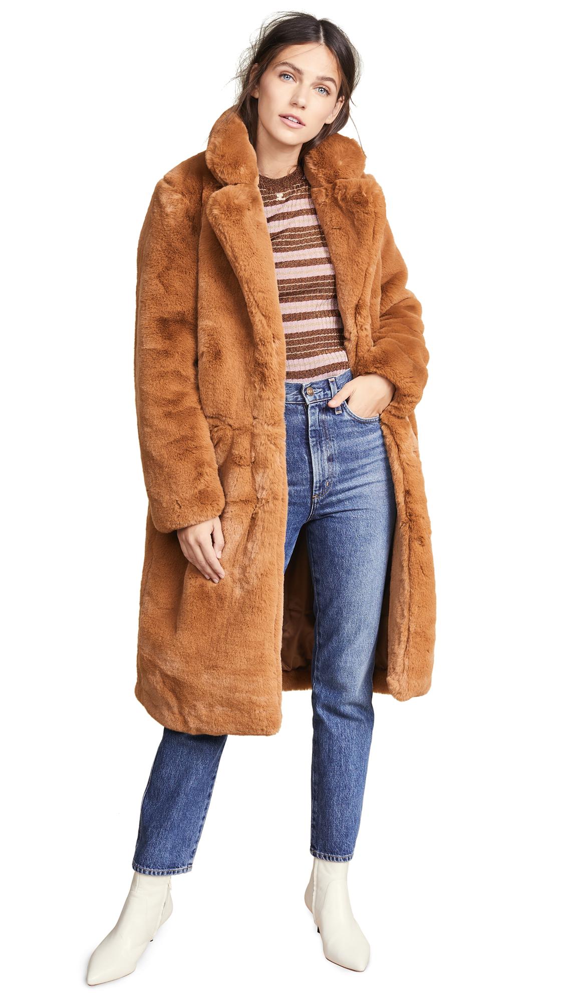 Apparis Laure Faux Fur Coat In Chestnut