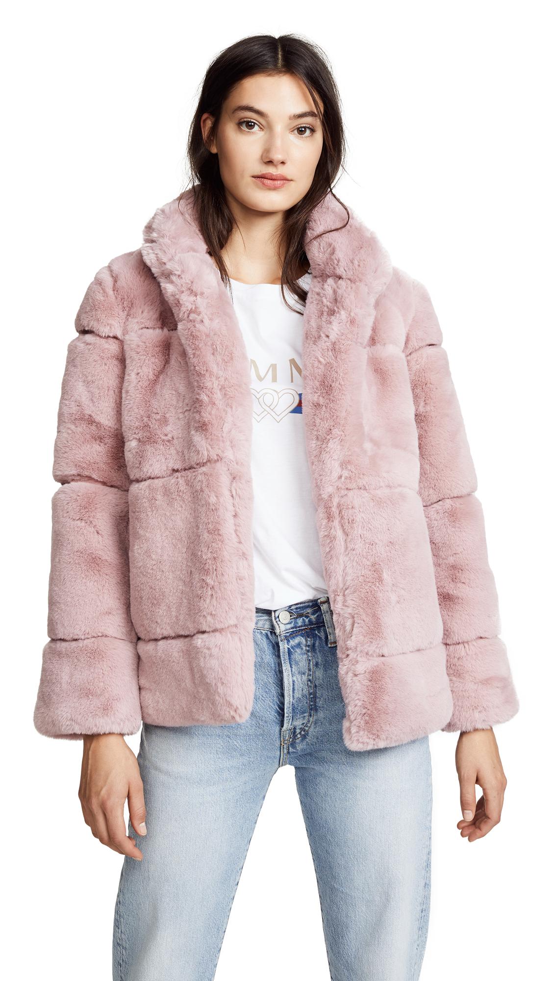 Apparis Sarah Quilted Fur Coat In Mauve