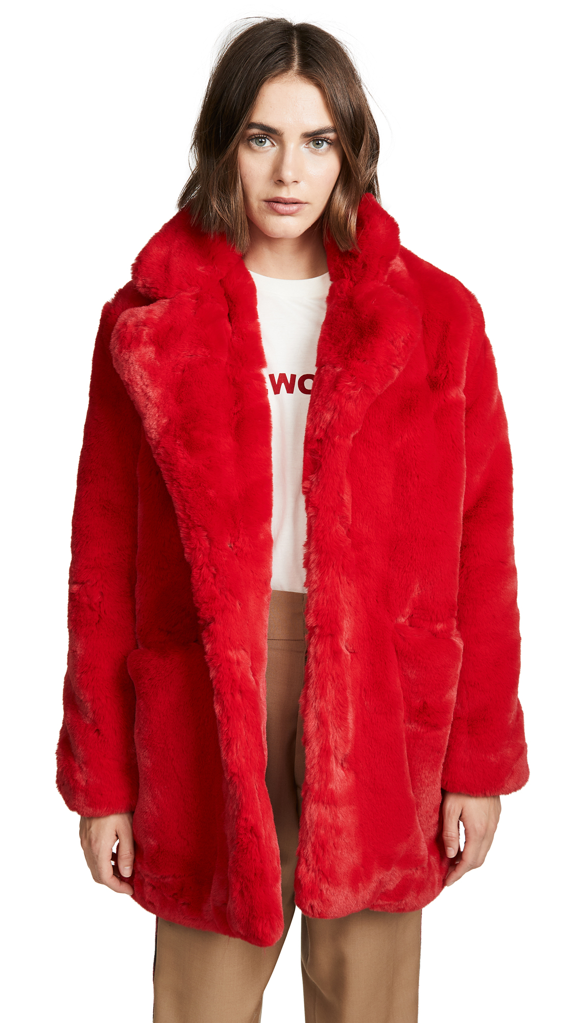 Sophie Red Faux Fur Coat Red in Scarlet Red