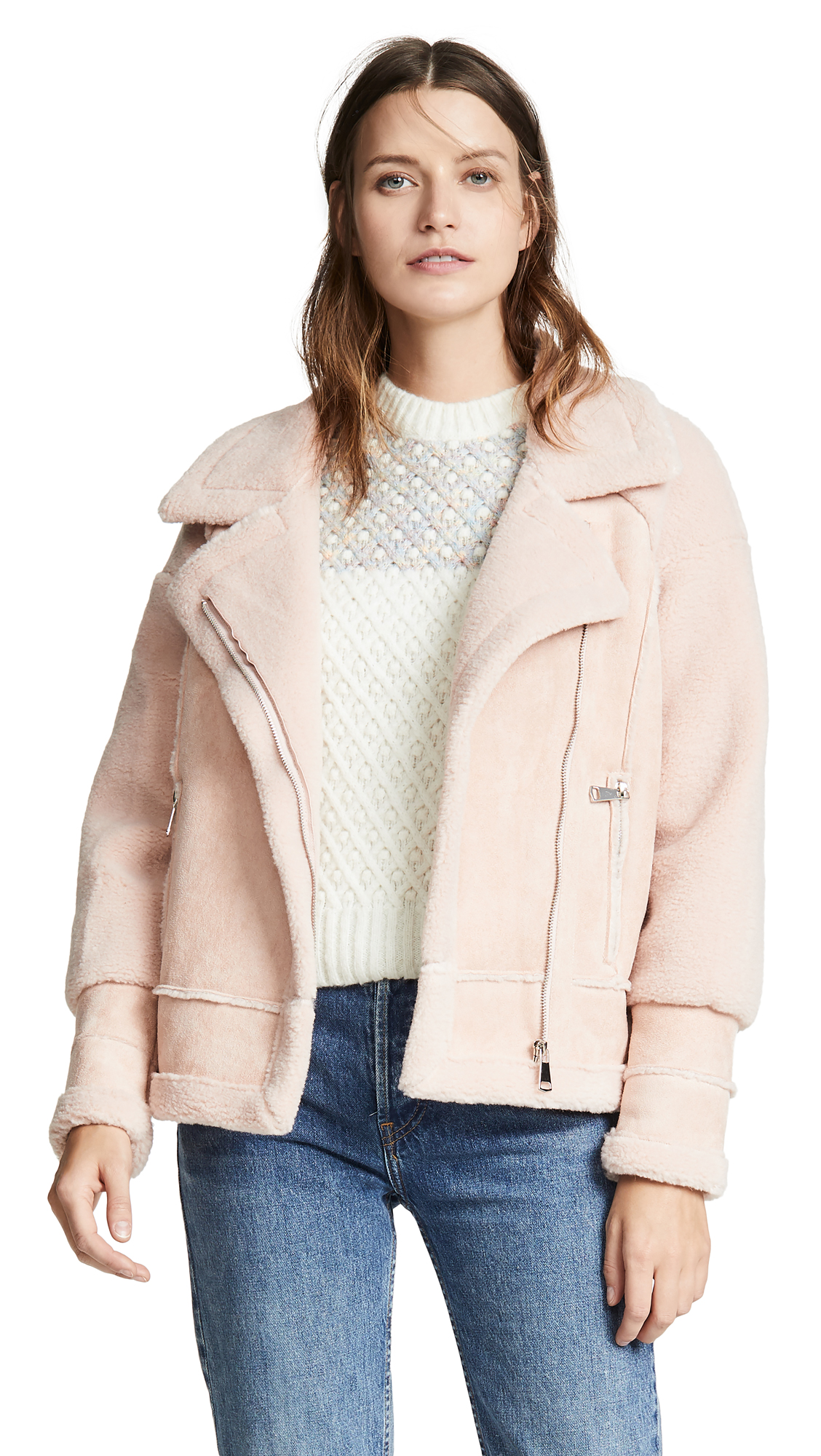 APPARIS Anne Sherpa Jacket in Blush