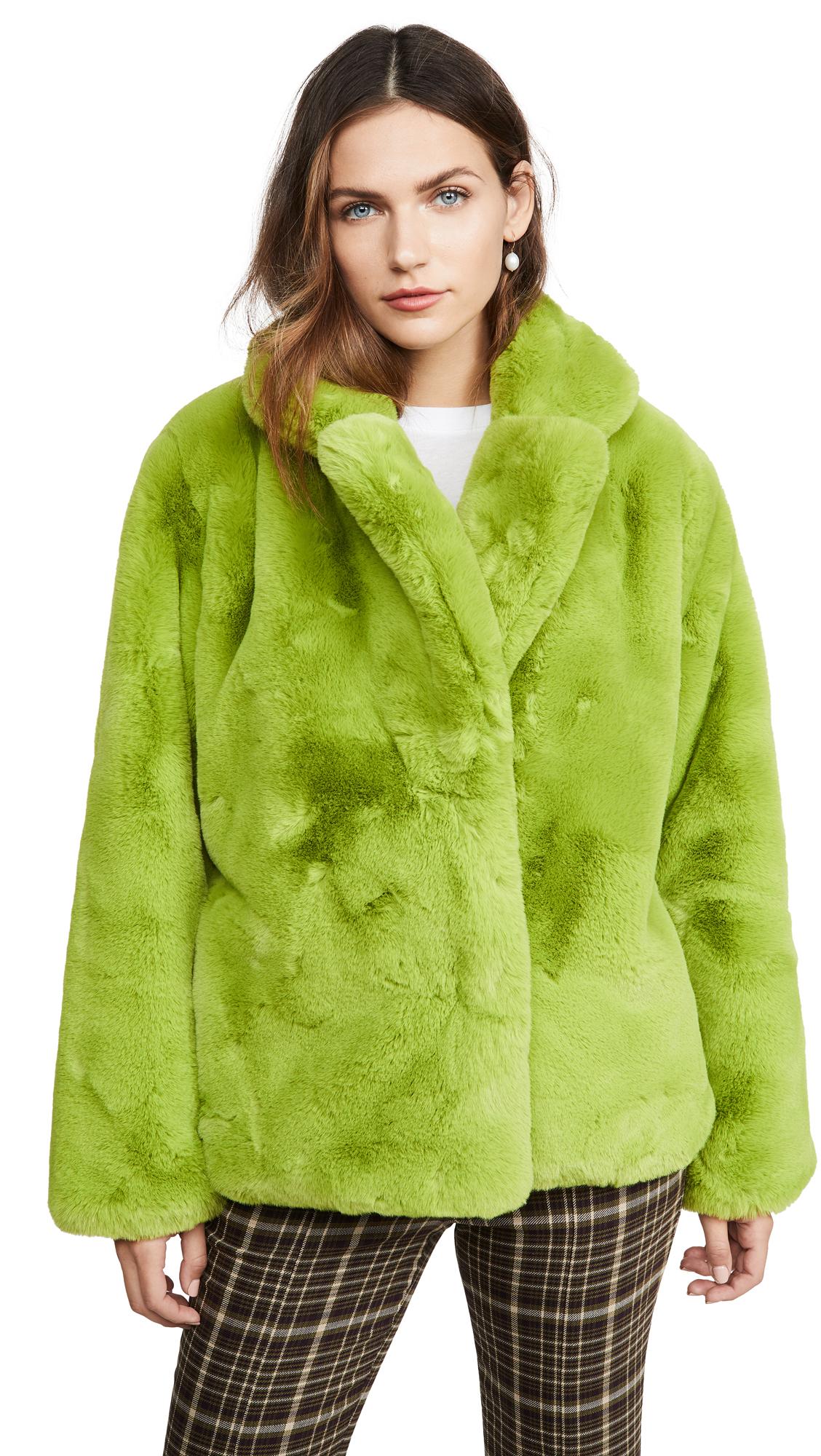 Apparis Manon Faux Fur Jacket - Neon Green