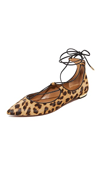 Aquazzura Christy Lace Up Flats - Caramel Leopard
