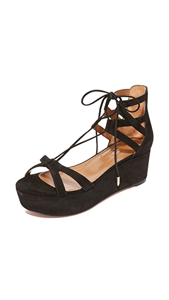 Aquazzura Beverly Hills Flatform Sandals - Black