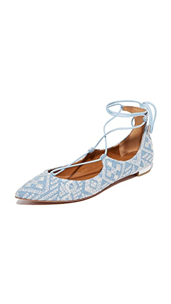 Aquazzura Christy Embroidery Flats - Light Blue