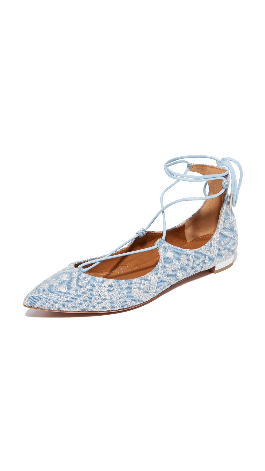 Aquazzura Christy Embroidery Flats - Light Blue
