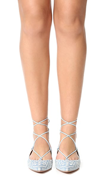 Aquazzura Christy Embroidery Flats