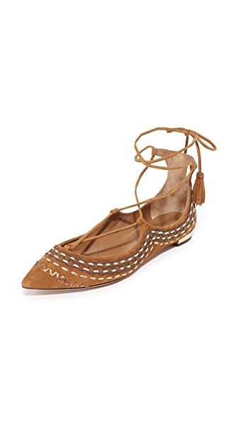 Aquazzura Christy Folk Flats - Cognac