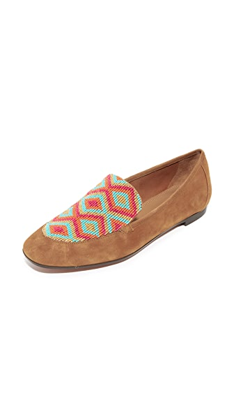 Aquazzura Beaded Loafers - Cognac