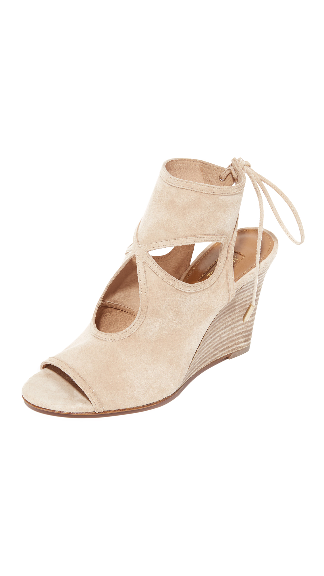 Aquazzura Sexy Thing Wedge Booties - Nude