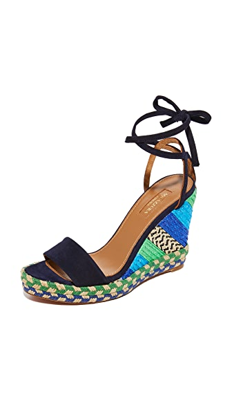 Aquazzura Baru Wedge Espadrilles - Ink