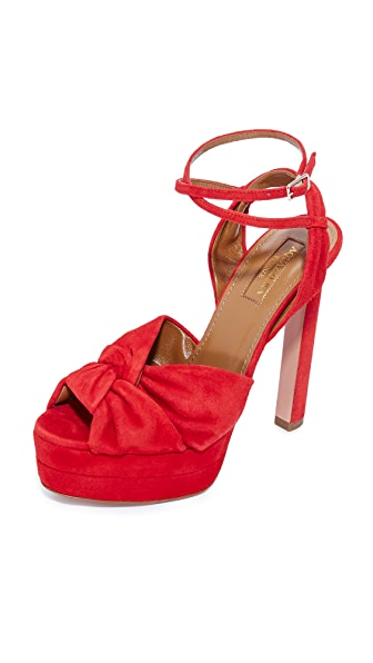 Aquazzura Movie Star Plateau Sandals - Lipstick