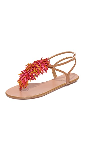 Aquazzura Wild Thing Flat Sandals - Whiskey/Multi Red