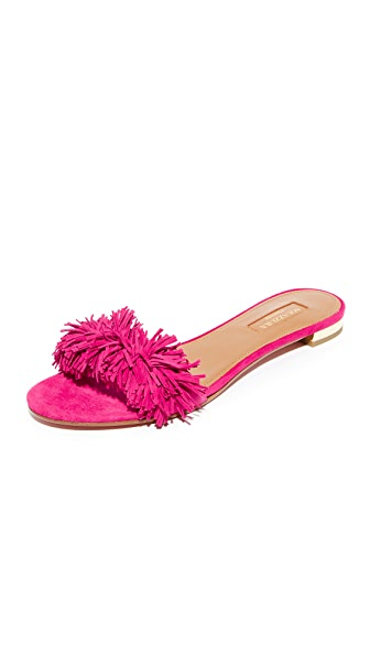 Aquazzura Wild Thing Slide Flats - Paradise Pink
