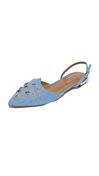 Aquazzura Nairobi Embroidery Sandal Flats - Jeans Blue