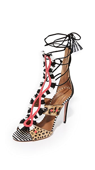 Aquazzura Zulu 105 Sandals - Black/White/Animalier