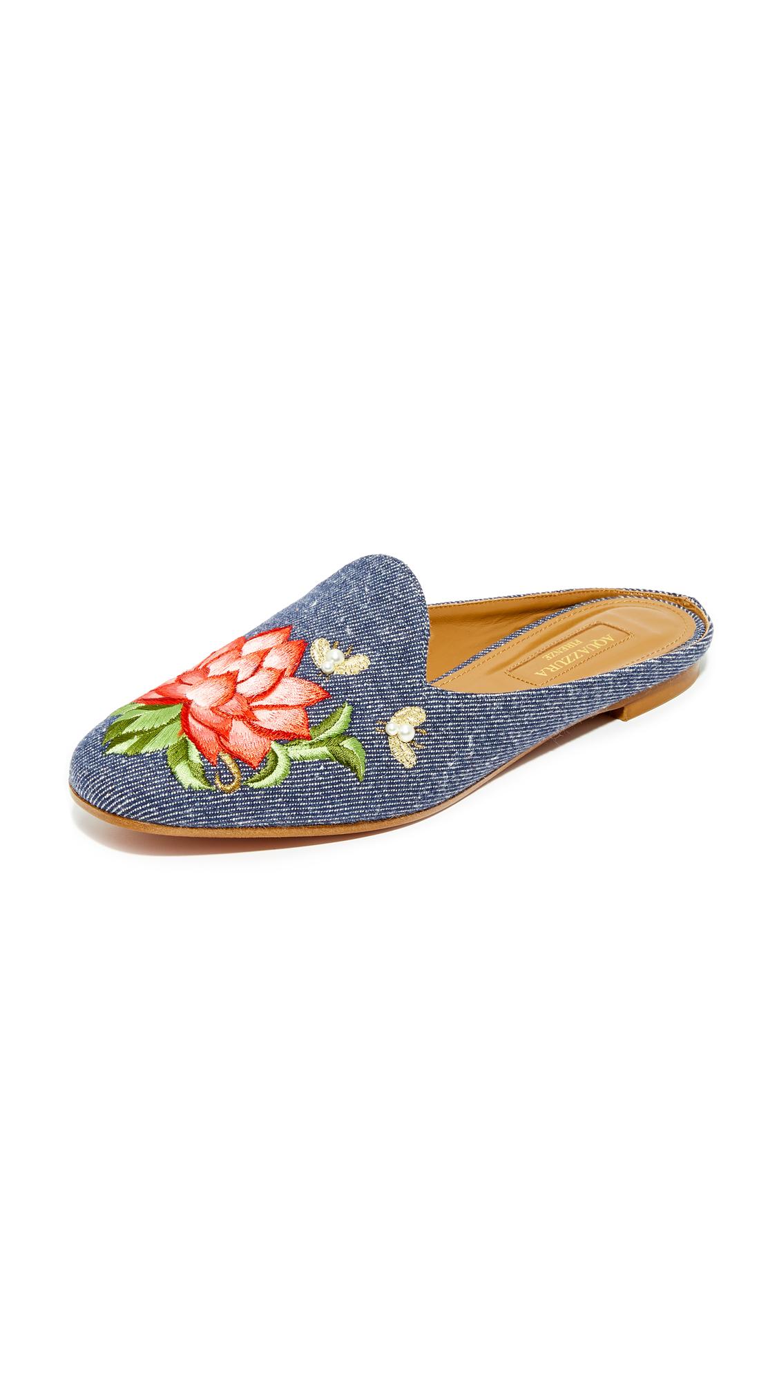 Aquazzura Lotus Slippers - Jeans Blue