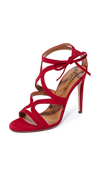 Aquazzura Aurelie 105 Sandals - Spiced Red