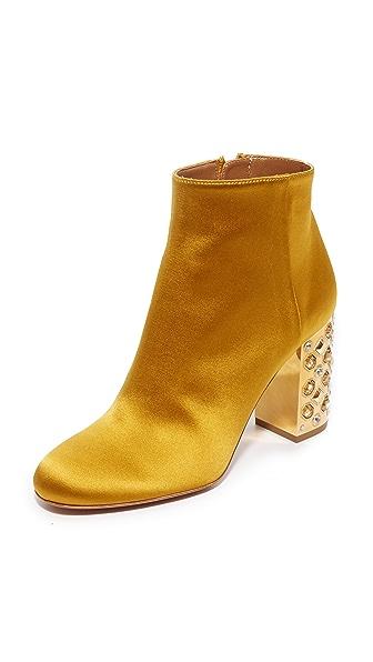 Aquazzura Party 85 Booties In Amber Yellow