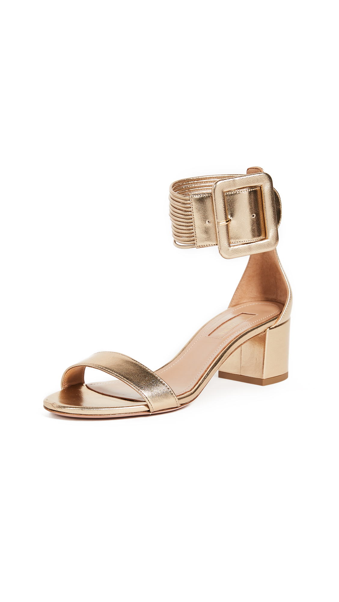 Aquazzura Casablanca 50 Sandals - Light Gold
