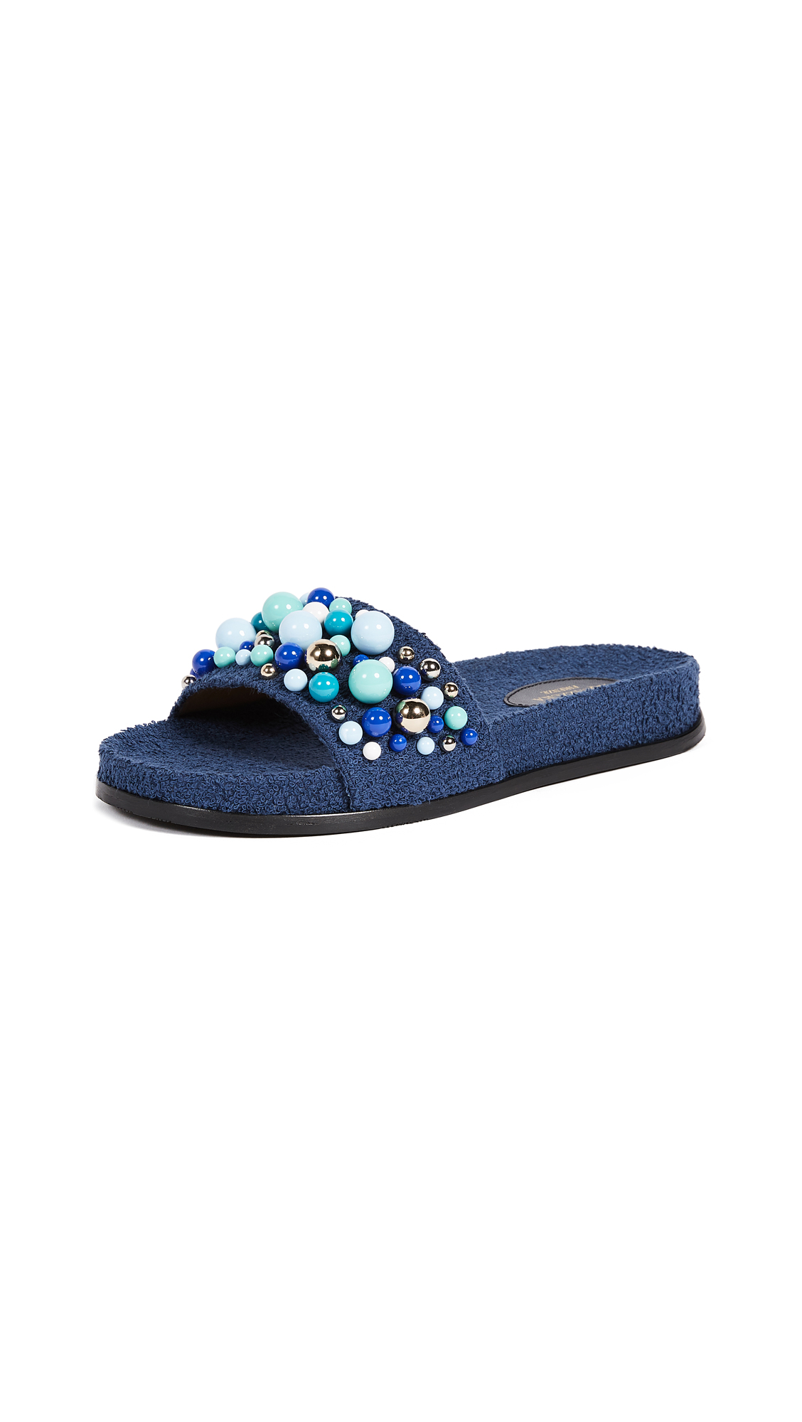 Aquazzura Bon Bon Pool Slides - Navy