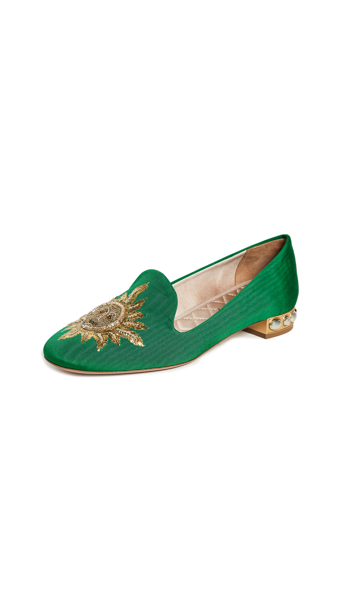 Aquazzura Embellished Slippers - Jasmine Green
