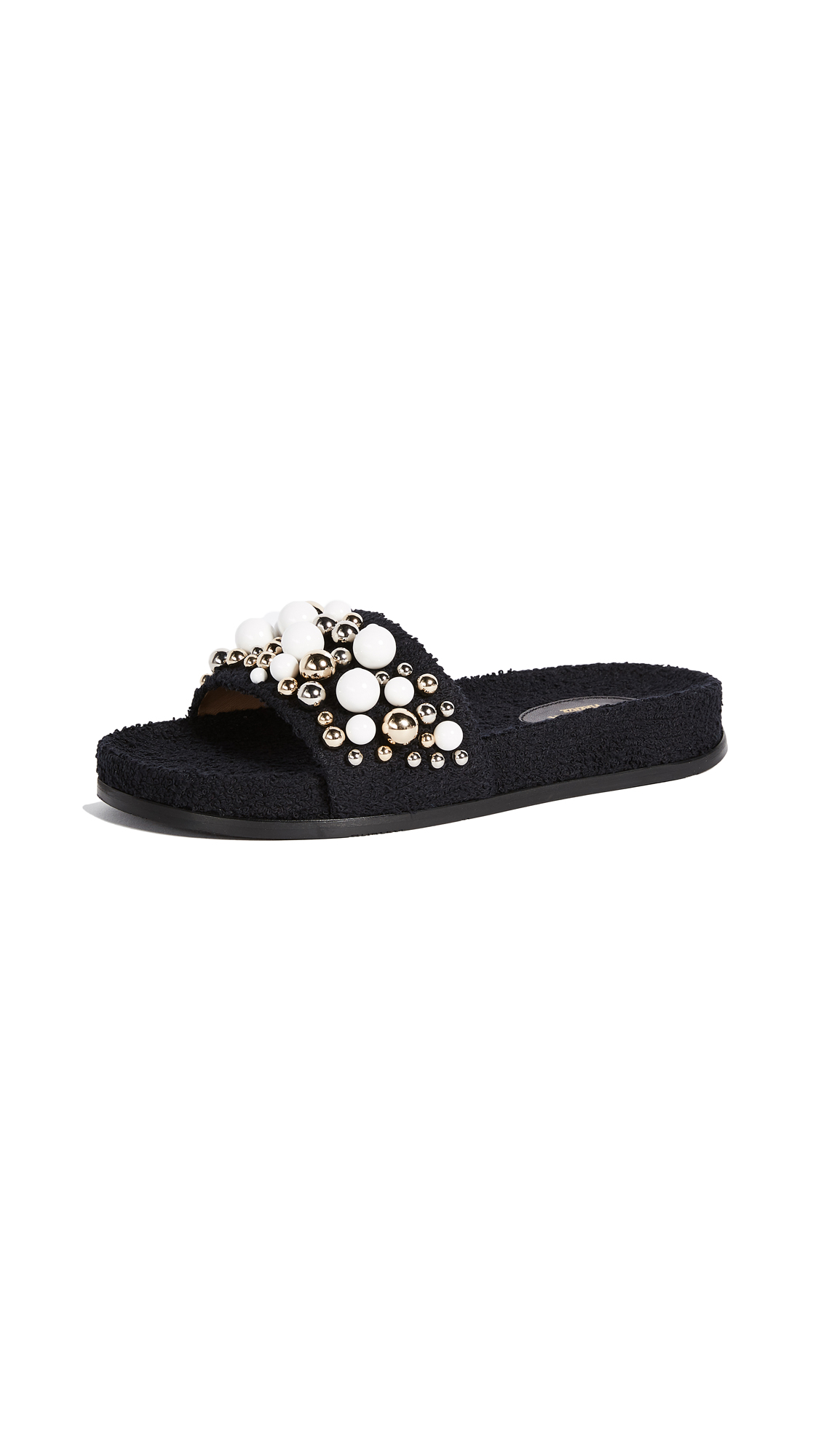 Aquazzura Bon Bon Pool Slides - Black