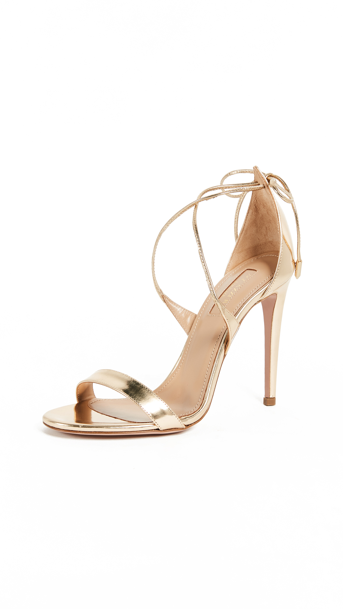 Aquazzura Linda 105 Sandals - Soft Gold