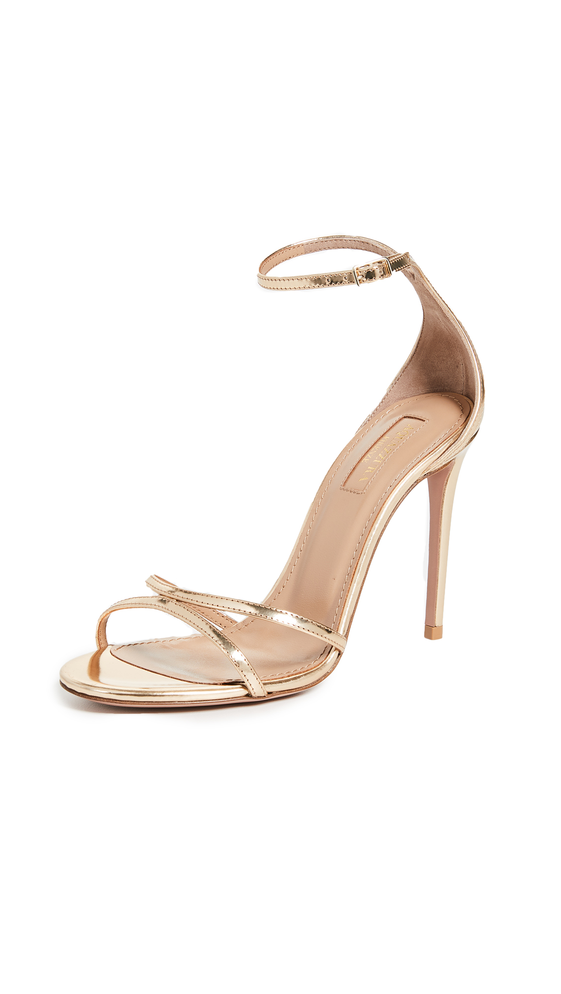 Aquazzura Purist 105mm Sandal - Soft Gold