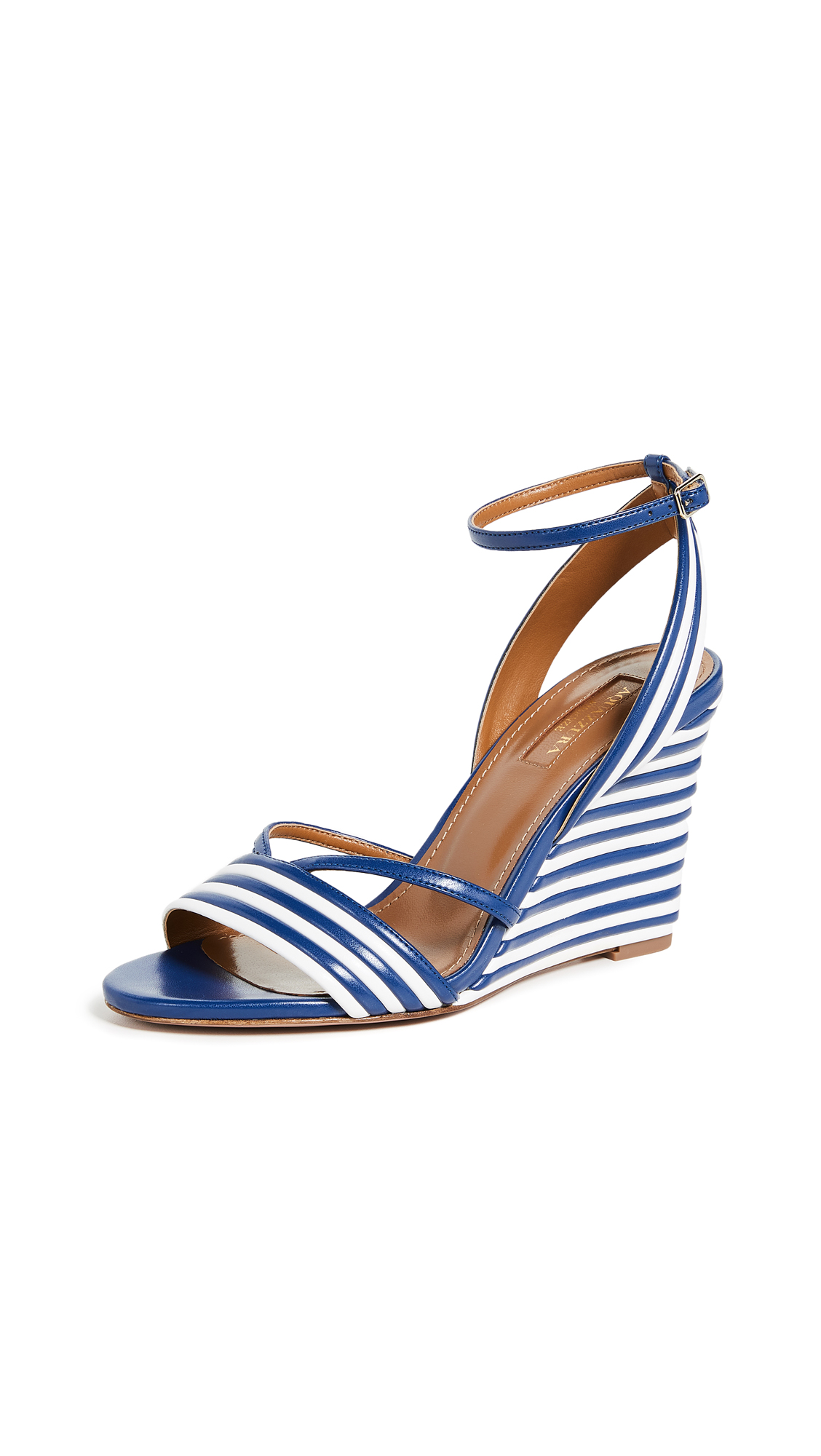 Aquazzura Sundance Wedge 85 Sandals - White/Cobalt