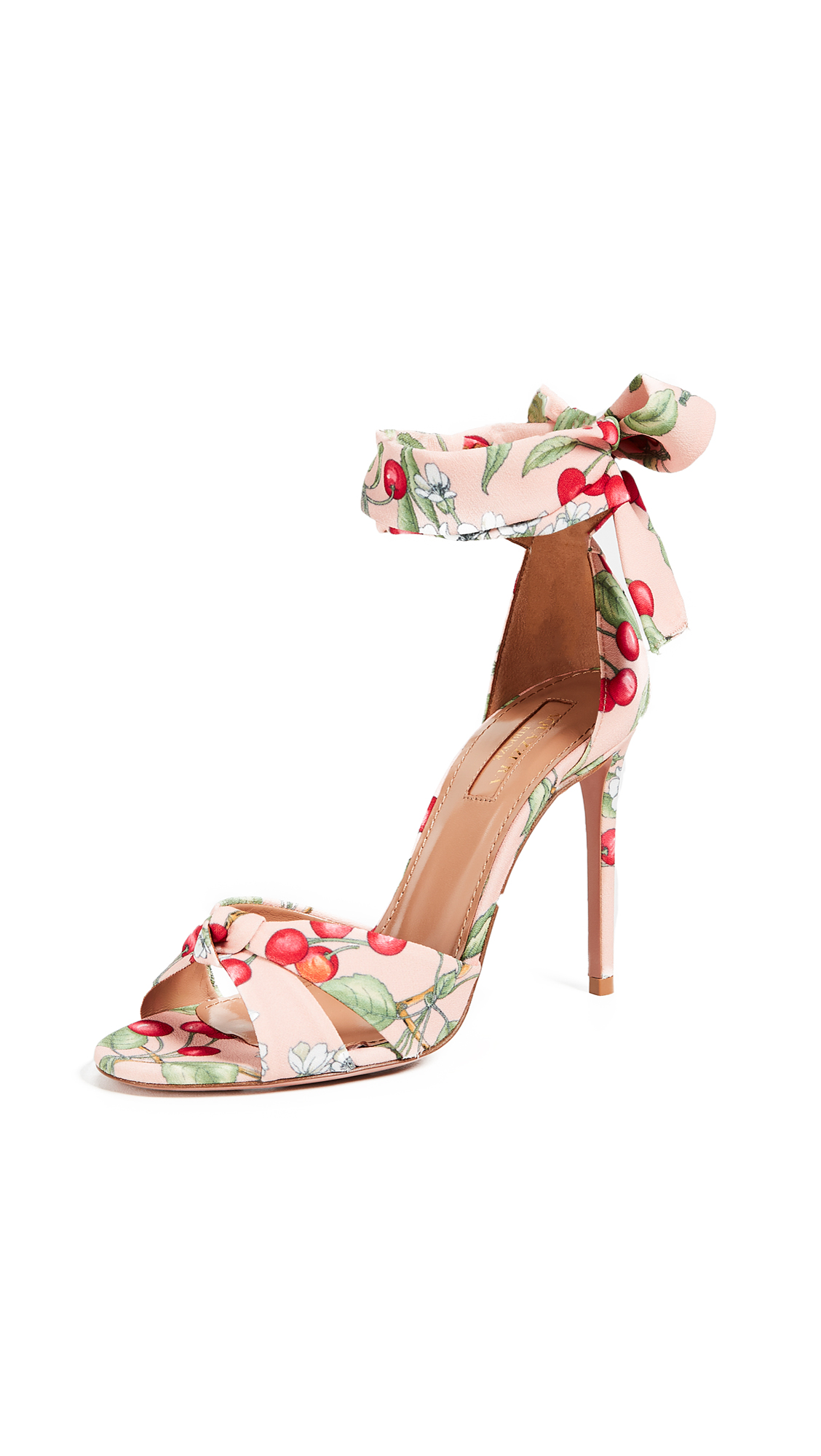 Aquazzura All Tied Up 105mm Sandals - Jaipur Pink