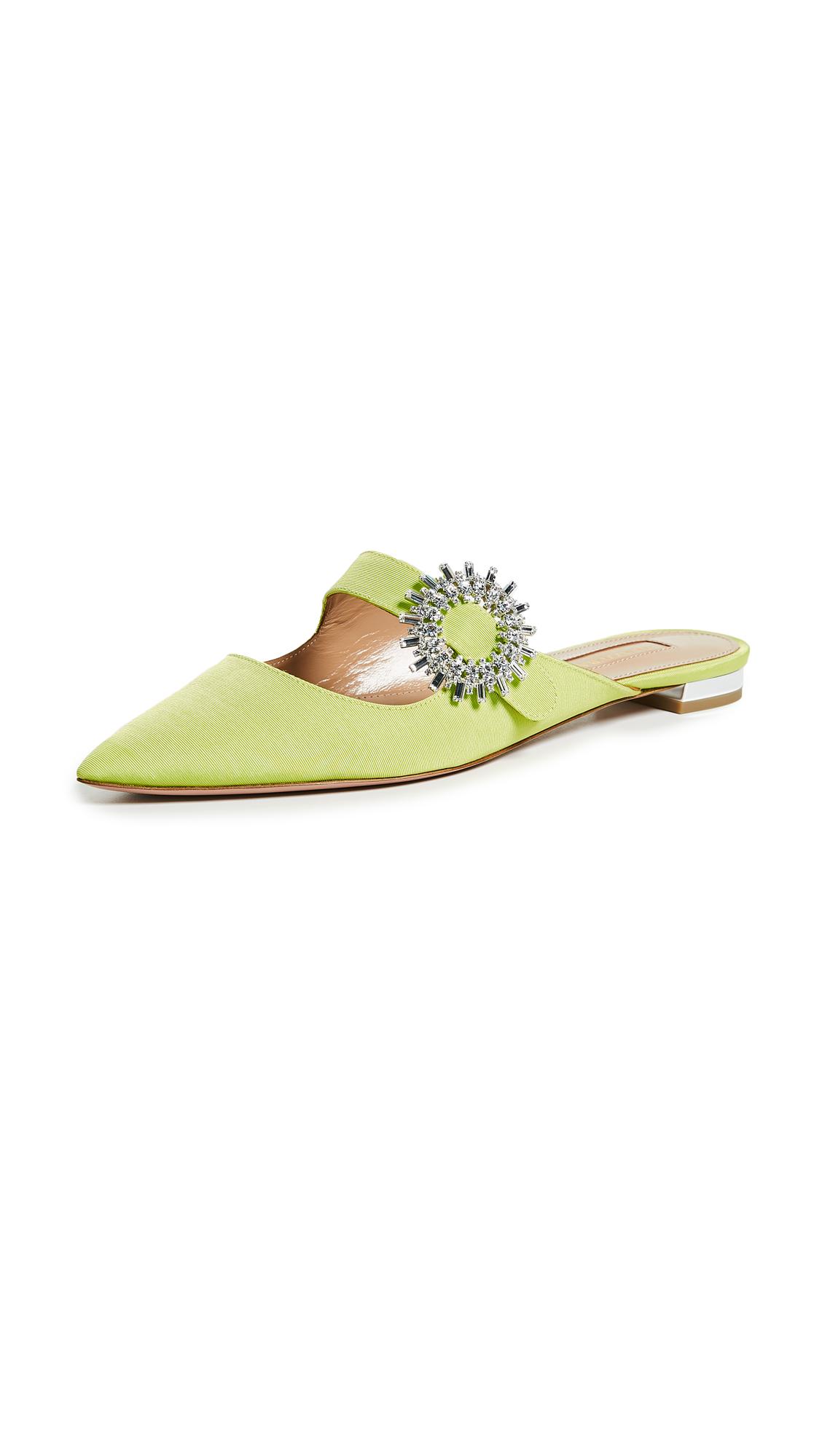 Aquazzura Crystal Blossom Flats - Lime