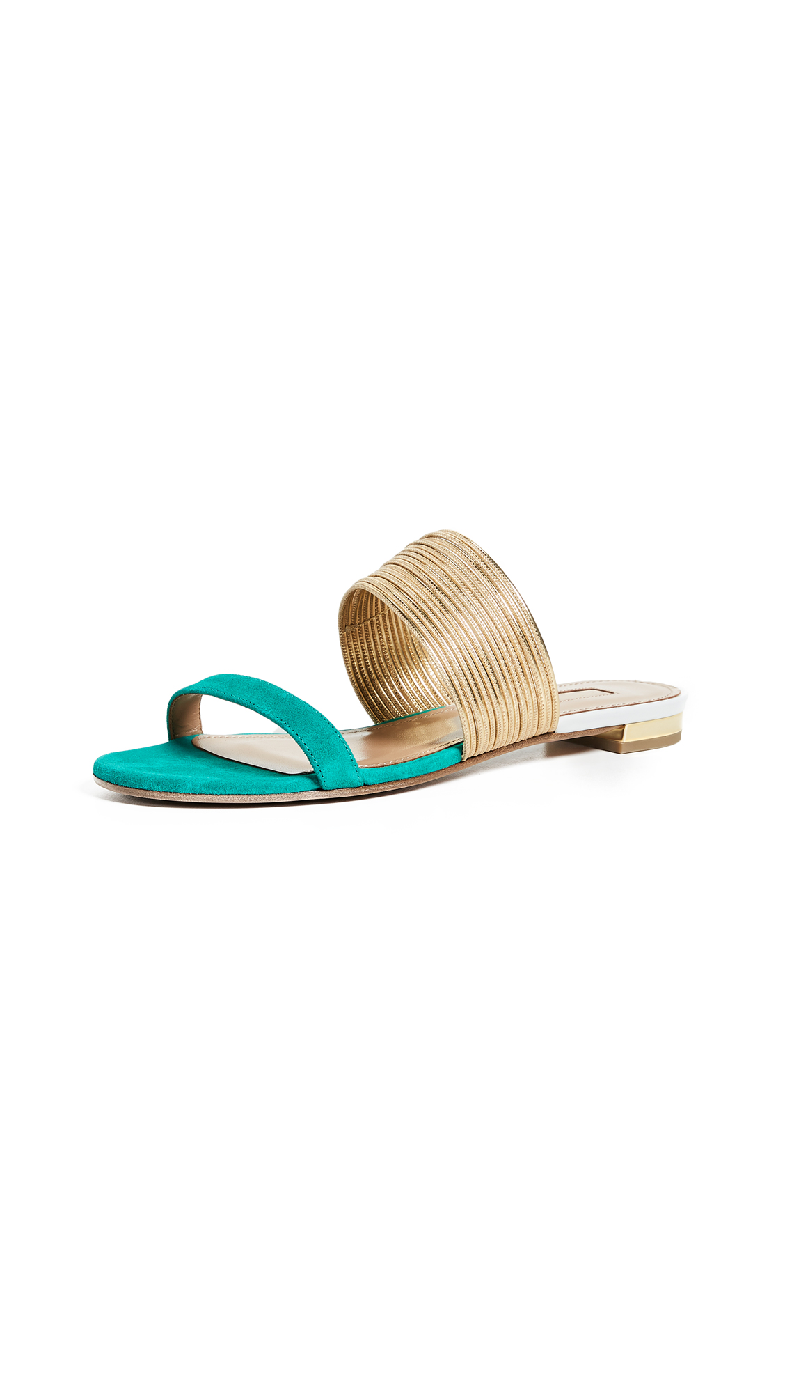 Aquazzura Rendez Vous Flat Sandals - Indian Emerald/Gold/White