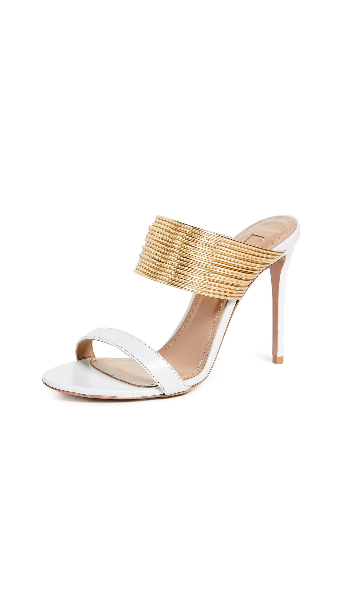 Aquazzura Rendez Vous 105 Sandals - White/Gold