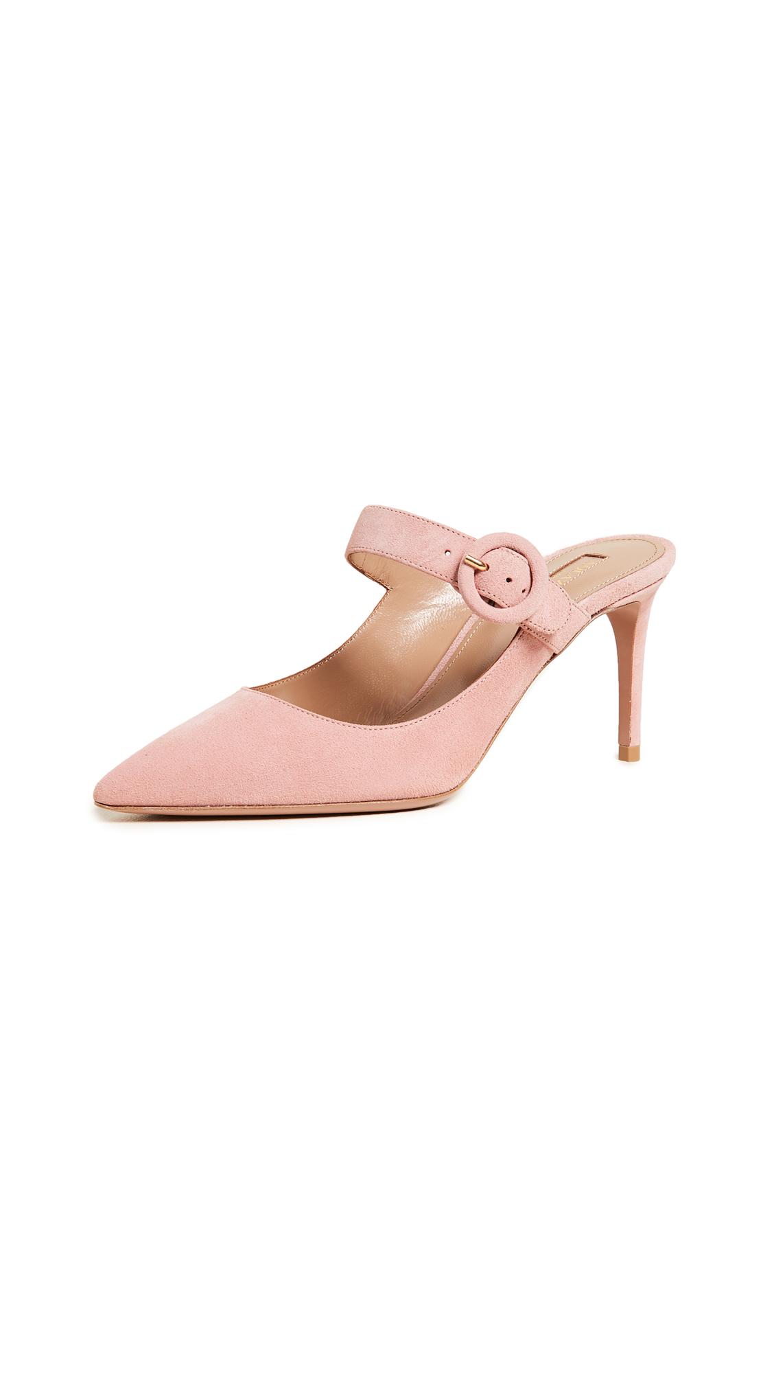 Aquazzura Blossom Mules - Jaipur Pink