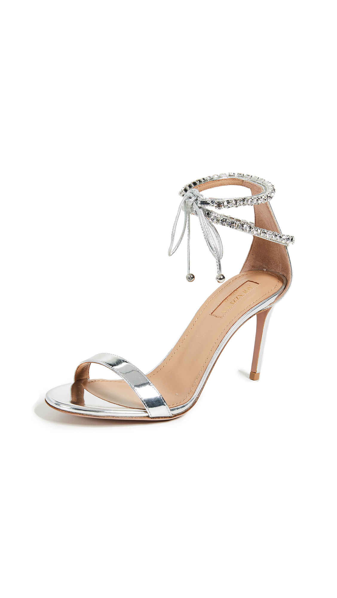 Aquazzura Crillon 85 Sandals - Argento