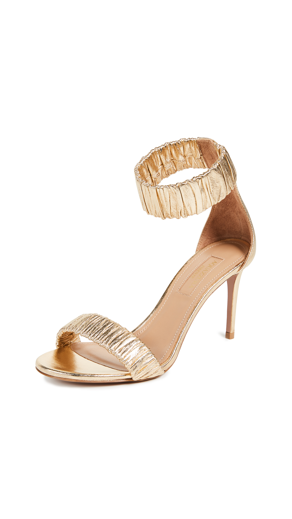 Aquazzura Liberty 85mm Sandals - Soft Gold