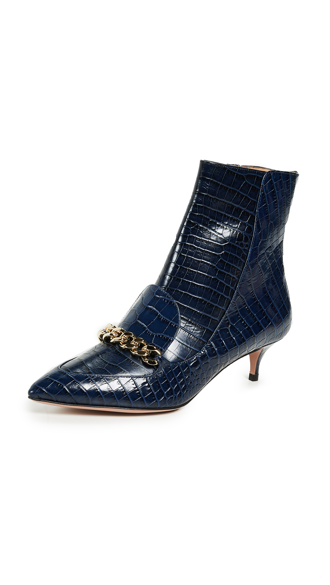 Aquazzura Editor 45mm Booties In Dark Indigo