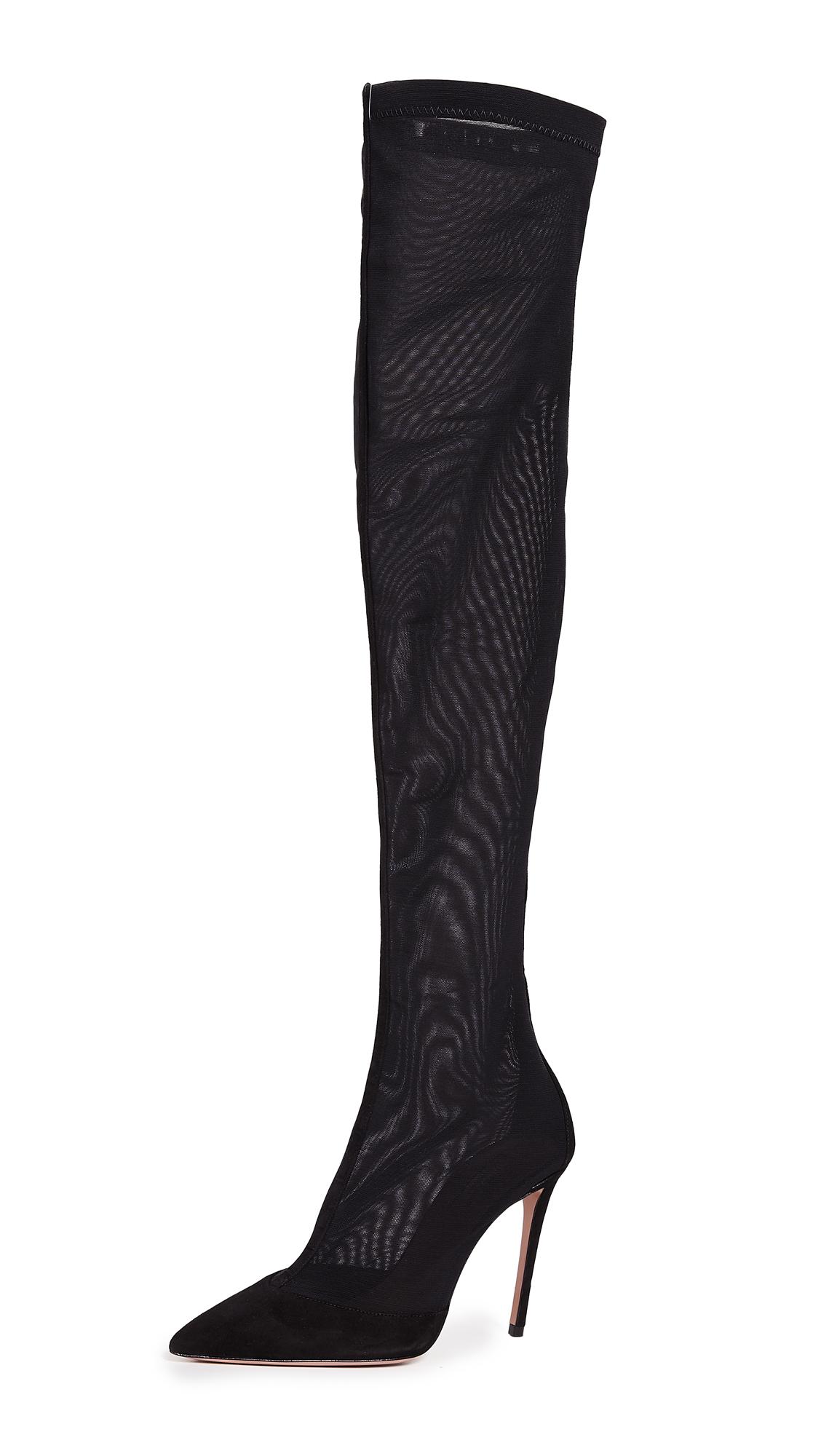 Aquazzura Hot Stuff Over the Knee Boots - Black