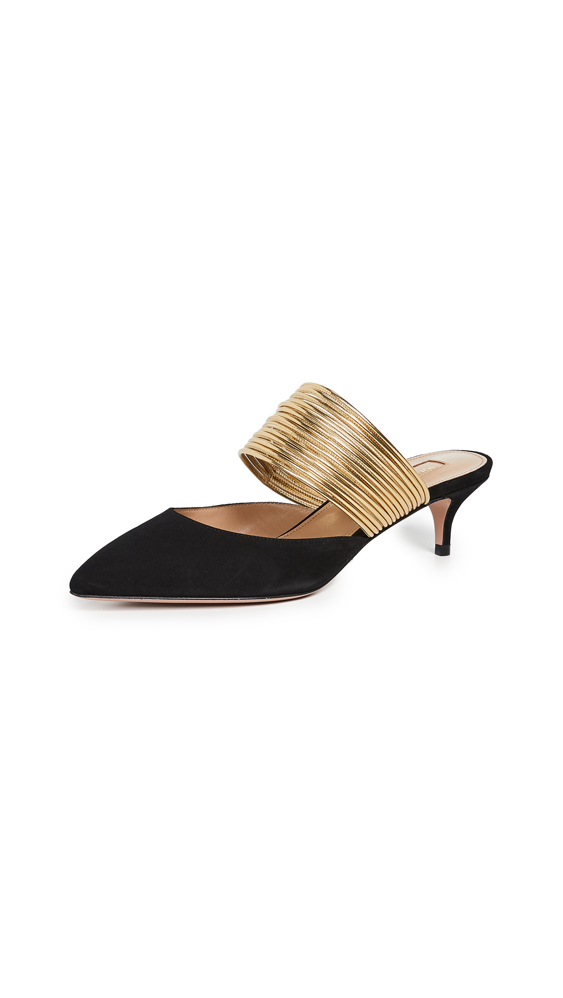 Aquazzura Rendez Vous 45mm Mules - Black/Gold
