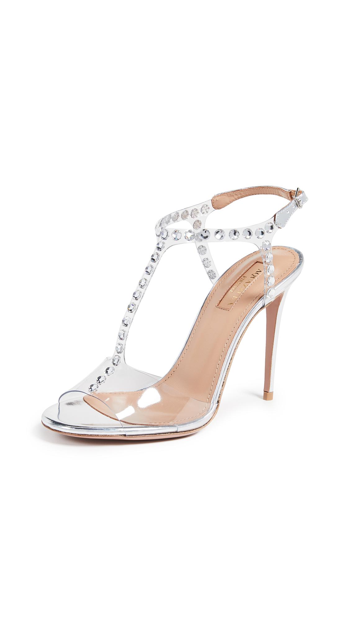 Aquazzura Shine 105mm Sandals - Silver